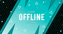 Currently Offline Twitch Overlay Cute Background 16:9 For Stream. Offline Modetn Cute Background With Lines. Screensaver For Offline Streamer Broadcast. Gaming Offline Cute Overlays Screen.