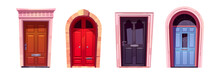 Wooden Doors With Metal Handles And Slot For Mail
