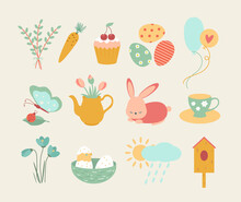 A Set Of Easter Design Elements. Eggs, Chicken, Butterfly, Rabbit, Tulips, Flowers, Willow, Branches, Basket, Tulips, Birdhouse, Willow. Perfect For Holiday Decoration And Spring Greeting Cards