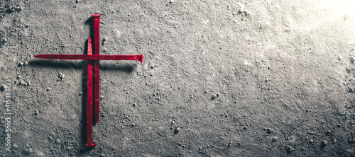 Photo Three Red Nails In Shape Of Cross On Dirt Floor - Crucifixion Of Christ