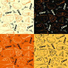 Set Of Seamless Patterns With Different Types Of Cheese. For Wrapping Paper And Design