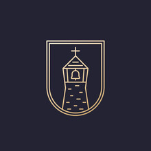 Church With A Belfry, Line Logo Design