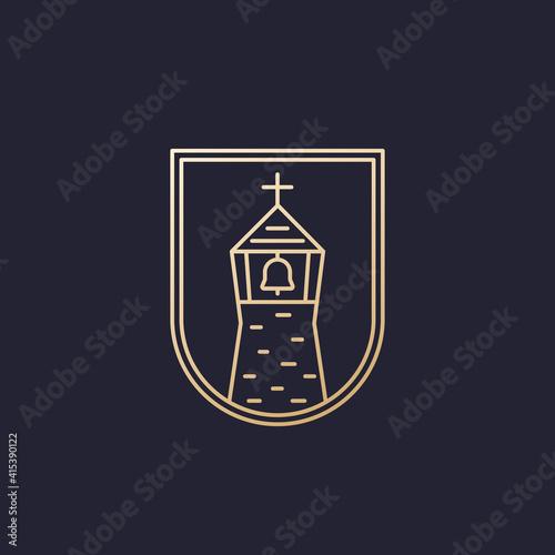 Fototapeta church with a belfry, line logo design