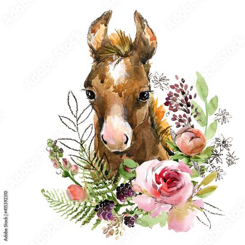 Canvas cartoon horse. farm animal illustration. cute watercolor foal