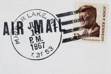 Briefmarke Stamp Gestempelt Used Frankiert Cancel Post Letter Mail Brief Vintage Retrto Luftpost Airmail Air Mail John F Kennedy Person Presiden Man Präsident 1967 July Juli New Hampshire Mirror Lake