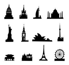 Travel Landmark Icons - Silhouette Vector Stock Illustration