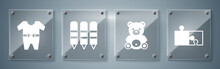 Set Piece Of Puzzle, Teddy Bear Plush Toy, Wax Crayons For Drawing And Baby Clothes. Square Glass Panels. Vector.