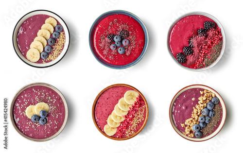Leinwand Poster breakfast smoothie bowls