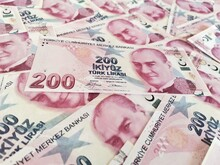 Turkish Lira. Two Hundred Turkish Lira. Two Hundred Liras. Moneys. Finance And Economy. Background Coins.