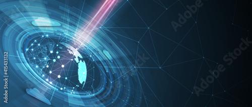 Obraz Cloud technology. Integrated digital web concept background - fototapety do salonu