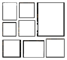 Vector Illustration Of Analog Film Black Frames Pack