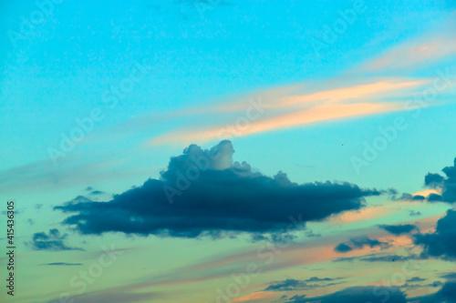 Amazing blue sunset sky. Beautiful dramatic sky. #415436305