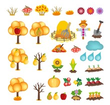 Set Of Kids Cartoon Autumn Icons Isolated On White Background. Vector Cliparts Of Yellow Trees And Bushes With Fruits, Haystack, Garden Scarecrow, Shovel, Cloud, Raindrops And Vegetables Icons
