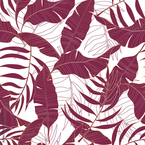 Fototapeta Various burgundy tropical leaves with golden outline on a white background. obraz