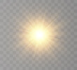 The bright sun shines with warm rays, vector illustration