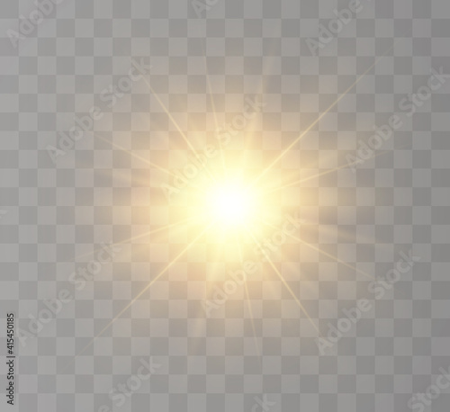Fotografie, Obraz The bright sun shines with warm rays, vector illustration