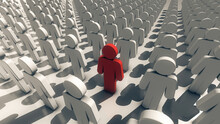 3d Rendered Illustration Of Representation Of Infected Man Within Crowd. High Quality 3d Illustration