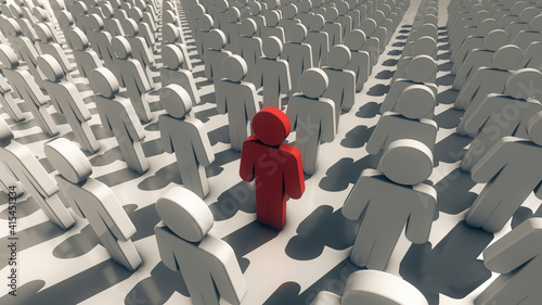 Fotografia 3d rendered illustration of Representation of Infected man within crowd