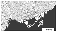 Map Of Toronto City, Ontario, Canada. Horizontal Background Map Poster Black And White, 1920 1080 Proportions.