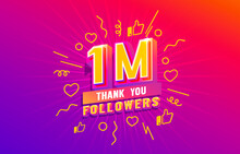 Thank You 1 Million Followers, Peoples Online Social Group, Happy Banner Celebrate, Vector