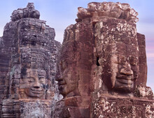 Ancient Bas-relief Of Famous Prasat Bayon Temple (late 12th - Early 13th Century) In Angkor Thom, Siem Reap, Cambodia