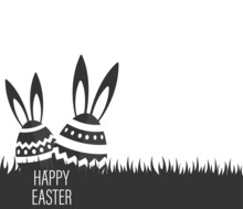 Vector Illustration Of Happy Easter Holiday With Egg, Flower. International Celebration Design With Typography For Greeting Card, Party Invitation Or Promotion Poster.