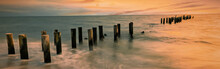 Panoramic Art Sunset At Famous Old Naples Pier, Florida, Travel And Beauty Of Nature Concept.
