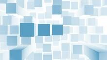 3D Blue Shiny Cuboids, Squares Animation Background