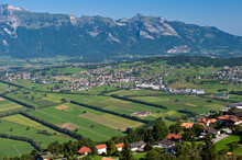 View From Planken Across The Rhine Valley To The Alpstein Mountain Range, Principality Of Liechtenstein