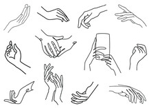 Female Hands In A Modern One Line Style. Continuous Line Drawing, Aesthetic Outline For Decor, Posters, Wall Art, Stickers. Beautiful Graceful Silhouettes. Collection. Vector Illustration Of A Set.