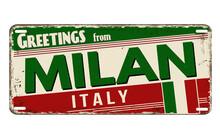 Greetings From Milan Vintage Rusty Metal Plate
