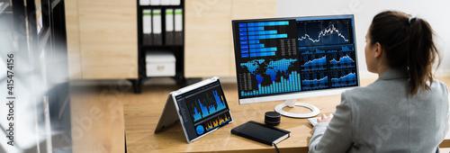 Business Woman Analyst Using KPI Data