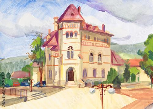 Landscape painted with gouache on paper Fototapet