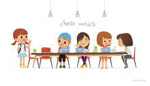 New Pupil Greeting Classmates Sitting At Table. Happy African American Children Sitting At Laptops And Learning Programming During School Lesson. Coding For Kids Concept. Vector Illustration For
