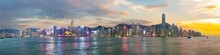 Panorama View Of Hong Kong Skyline On The Evening Seen From Kowloon, Hong Kong, China.
