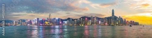 Leinwand Poster Panorama view of Hong Kong skyline on the evening seen from Kowloon, Hong Kong, China