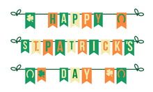 Happy St.patrick's Day, Vector Flags Garland In Irish Flag Colors