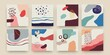 Abstract scribble banners. Modern doodle pattern with cute hand drawn geometric shapes. Bright organic forms square posters natural colors social media post background. Vector contemporary collage set
