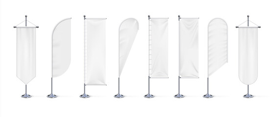 Textile banner flag. Realistic blank white fabric signs mockup for advertising, outdoor exhibition cotton waving flags on chrome steel stand. Canvas template with copy space, vector 3d isolated set