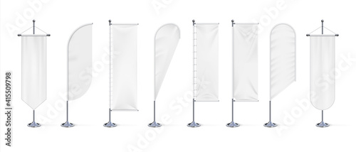 Textile banner flag. Realistic blank white fabric signs mockup for advertising, outdoor exhibition cotton waving flags on chrome steel stand. Canvas template with copy space, vector 3d isolated set - fototapety na wymiar