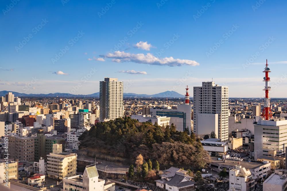 Fototapeta 夕暮れの地方都市の景色(栃木県宇都宮市)