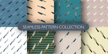 Set Of Seamless Pattern With Knife Figures. Hand Drawn Kitchen Print Collection. Cooking Tools Design.
