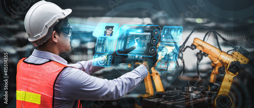 Fotografiet Facial recognition technology for industry worker to access machine control