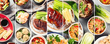 Collage Of Assorted Chinese Food On Light Gray Background. Asian Food Concept.