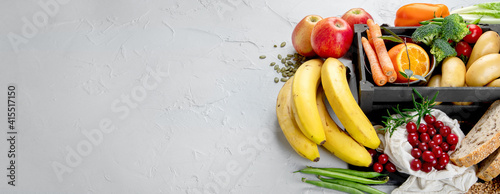 Best sources of carbs on light gray background. Healthy food concept.