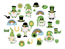 St Patrick's Day Set With Irish Gnomes, Clovers, Pot Of Gold, Horseshoe, Rainbow. Great For T-shirt Design, Invitation, St Patrick's Day. Vector Illustration.