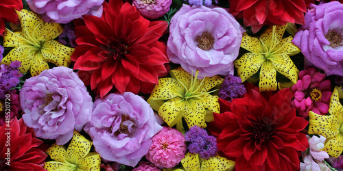 Fotomural gorgeous floral background with lilies, roses and dahlias.
