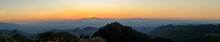Panorama Or Panoramic Photo Of Sunset Or Evening With Mountain Hill At Sri Nan National Park Doi Samer Dao Nan Province Thailand, Asia.