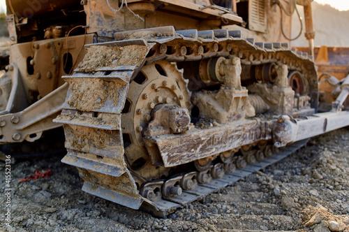 Fototapeta excavation truck excavator gravel sand blue sky sun summer construction work obraz