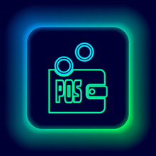 Glowing Neon Line Proof Of Stake Icon Isolated On Black Background. Cryptocurrency Economy And Finance Collection. Colorful Outline Concept. Vector.